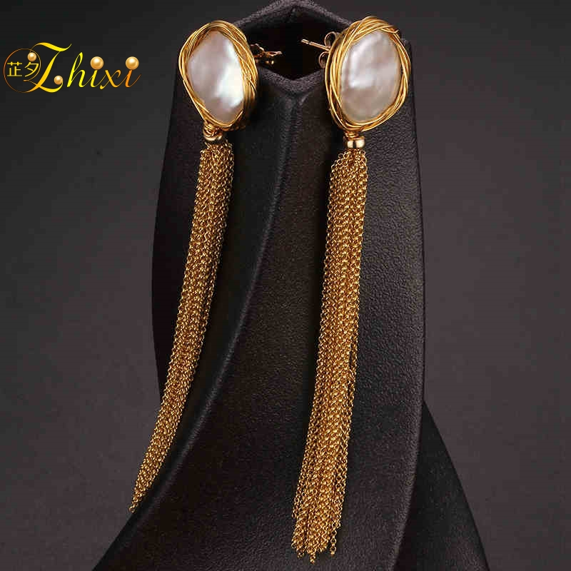 [ZHIXI] Long Tassel Pearl Earrings Fine Jewelry Natural Big Baroque Pearl Drop Earrings For Women Fashion Gift For Party XE207 [zhixi] freshwater pearl earrings for women fine jewelry big pearl earrings gold drop irregular fashion gift for party eb224