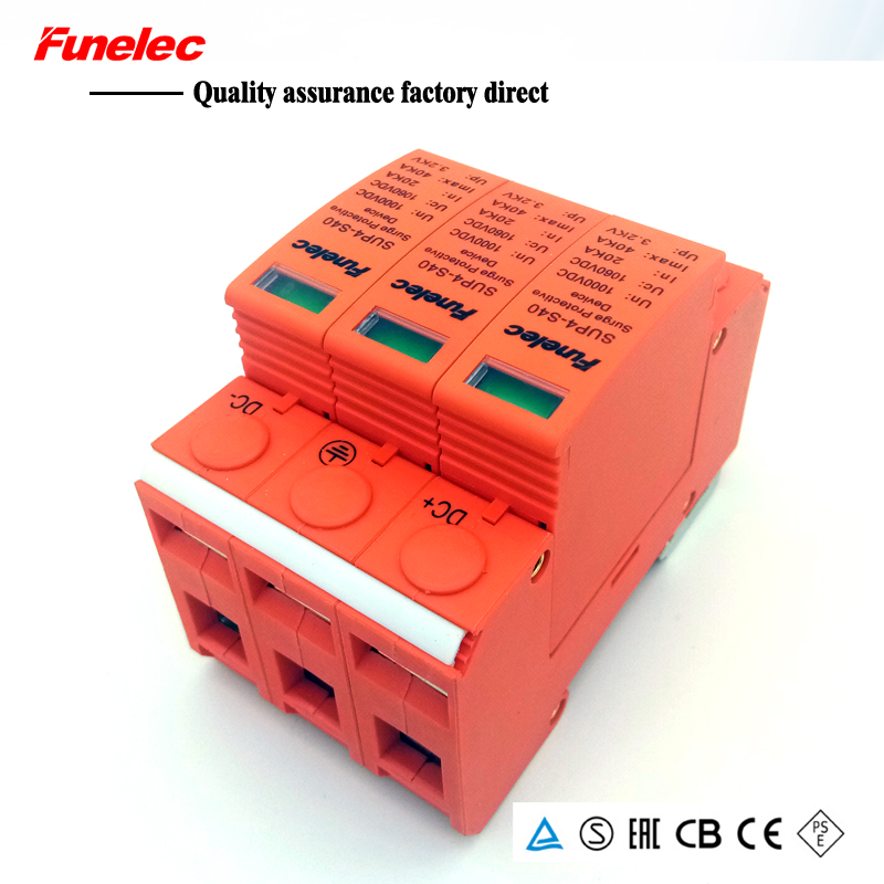 DC 3P 20KA~40KA 1000V DC Surge Protector Protection Low-voltage Arrester Device Household Switch Solar Power System