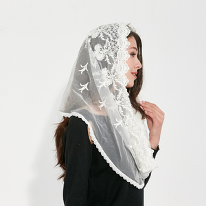 Couverture white black Catholic Head Scarf women Kerchief Chapel lace Church Veil Wedding bride Mantilla Latin Veils for Mass(China)