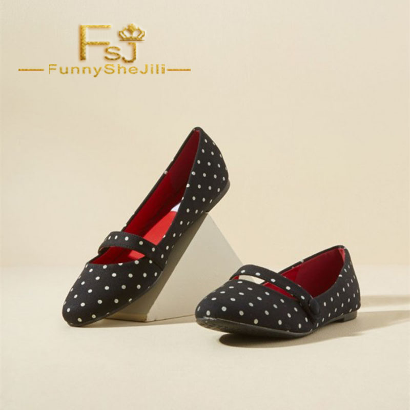 Chaussures Généreux Jane Noble Appartements Élégant Mary Bout Sexy Rond Incomparable Attrayantes Fsj Noir Polka Fsj01 Points Confortable 0txqngIv