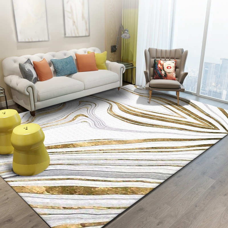 Nordic Simple Style Large Carpets Grey Golden Striped Rectangle Tapete Bedroom Living Room Non-Slip Floor Mat Kids Play Area Rug