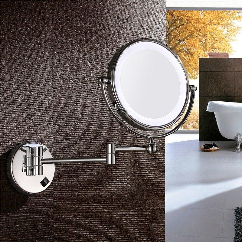 Gulun Ванна настенное зеркало для макияжа со светодиодными огнями и 10X увеличительное двойное протягивать руку складное зеркало для бритья дв... - 3