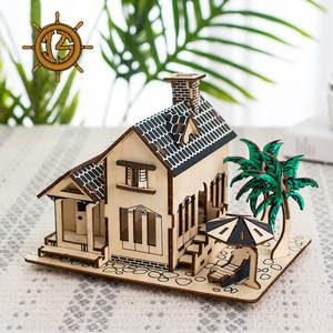 Blocks Wooden Model House Constructor Puzzle Children's DIY 3D Assembling