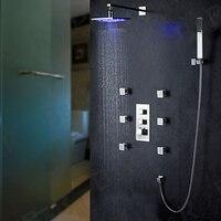 Becola 8 inch led 3 kleuren thermostatische gecontroleerde douchekop en massage sproeiers badkamer thermostatische regendouche set