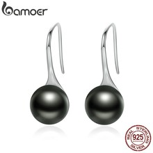 BAMOER Hot Sale 925 Sterling Silver Elegant Round Imitation Pearl Drop Earrings Women Sterling Silver Jewelry Brincos SCE144(China)