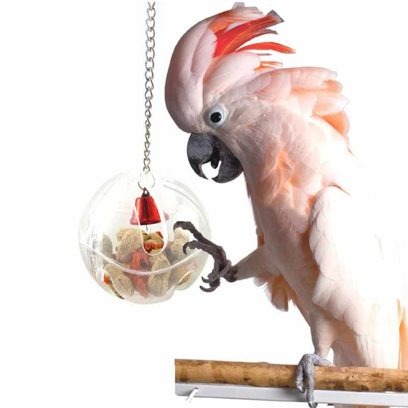 Durable Pet Parrots Ball Toys Hanging Feeder Ball With Chain Cage Pendant Birds Intelligence Foraging Ball Toys Bird Accessories