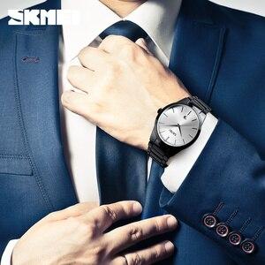 Image 3 - SKMEI luksusowe zegarki biznesowe męskie Ultra cienkie zegarki kwarcowe 5Bar wodoodporny minimalistyczny stal nierdzewna stalowy pasek Reloj Hombre
