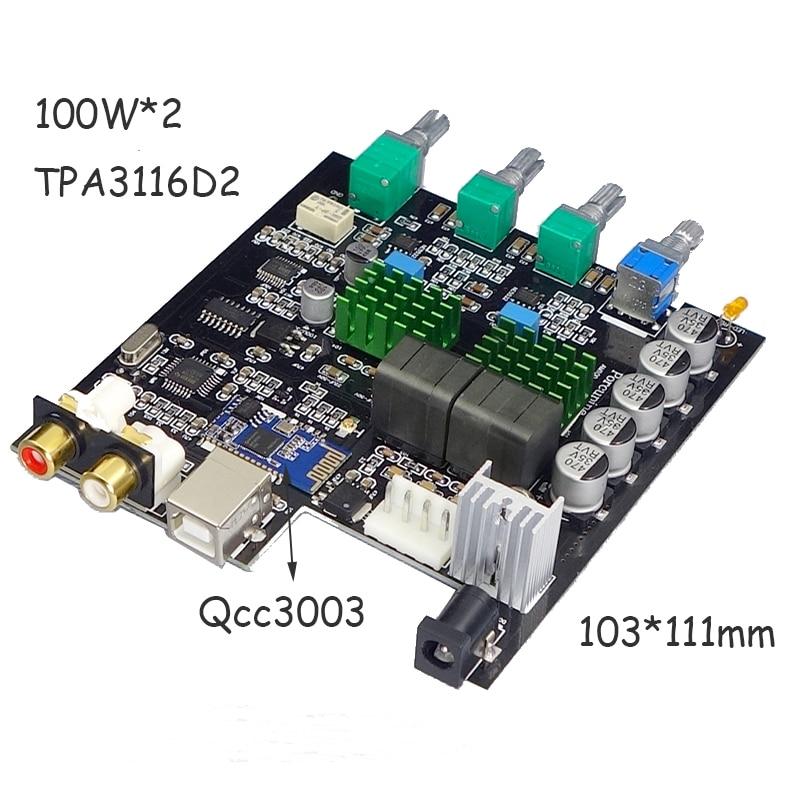 Image 3 - TPA3116D2 Bluetooth 5,0 цифровой усилитель мощности Qcc3003 100 Вт * 2 2,0 стерео аудио усилитель PCM5102A сабвуфер со звуковой картой-in Усилитель from Бытовая электроника