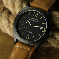WEGARSTI New Casual Leather Strap Men Watches Army Military Quartz Watch Men Wrist Watch Clock Relogio