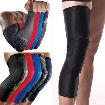 Rodilla de panal Pad a arañazos antideslizante baloncesto pierna rodilla brazo codo manga larga Protector de correr de fútbol prevenir caídas golpes