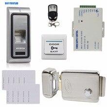 DIYSECUR Remote Control Fingerprint 125KHz RFID ID Card Reader Door Access Control System Kit + Electric Lock