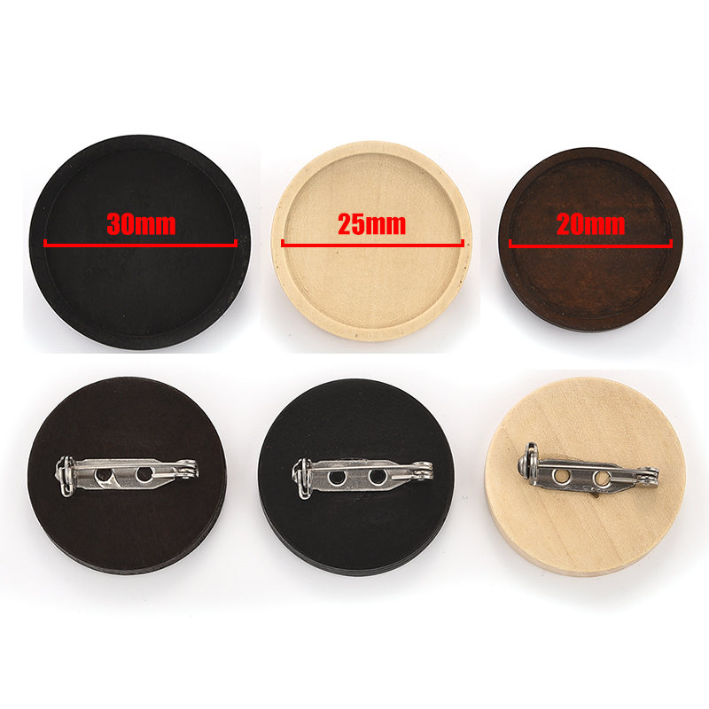 10pcs Blank Wood Brooch Wooden Base Settings 20/25/30mm Dia Cabochon Round Bezel Tray Diy Brooches Pin Backs For Jewelry Making
