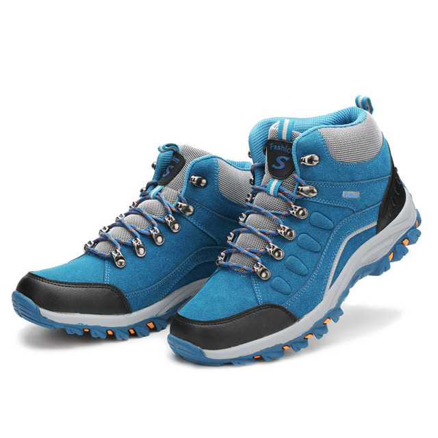 HOMASS Outdoor Waterproof Hiking Shoes Men Women Breathable Trekking Shoes  Leather Climbing Mountain Tactical Shoes Sneakers 8768d6162bd