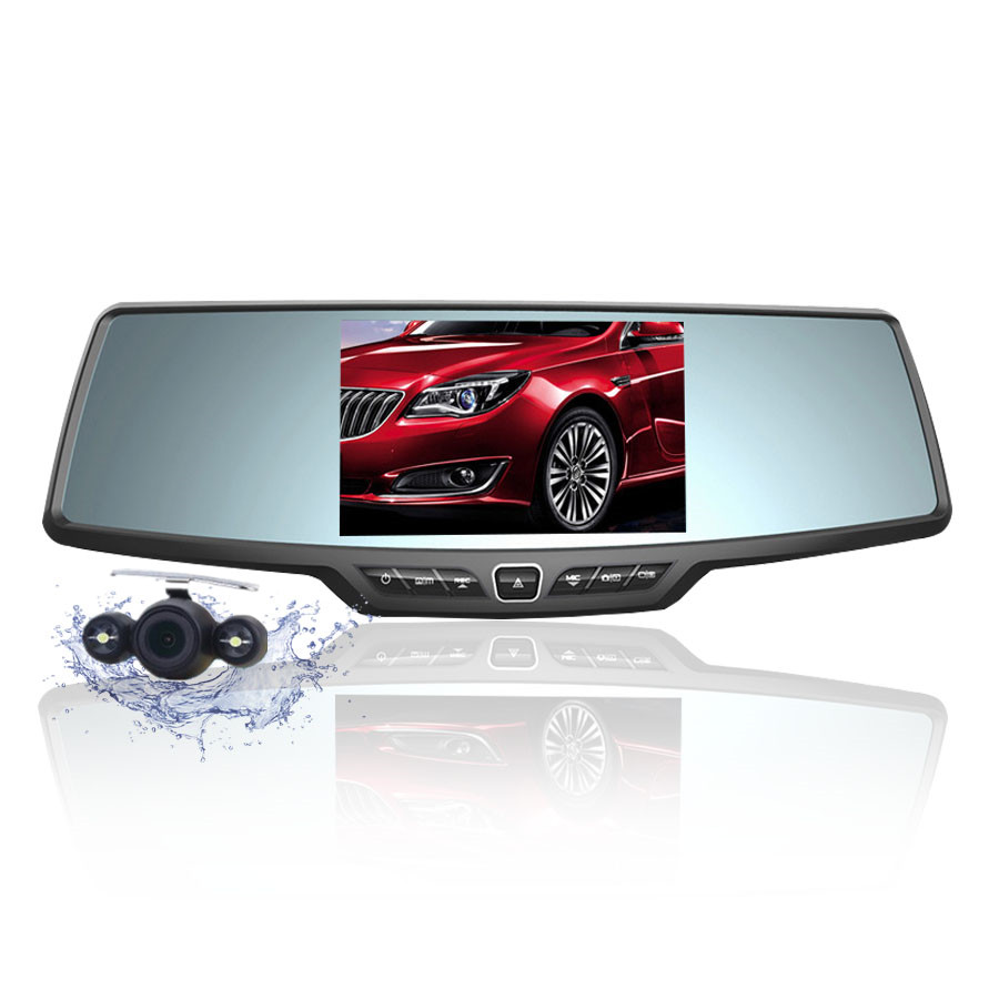 Ecartion 4.3 Car Rearview Mirror DVR Full HD 1080P Car Camera Parking Night Vision Car DVR Dual Camera Video Recorder Black Box цена