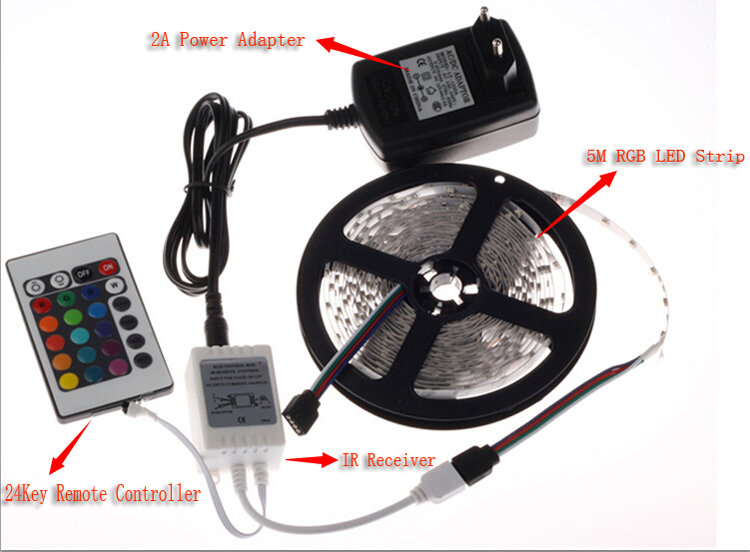 3528 RGB led strip set dc12V waterproof Flexible Light 24 Keys IR Remote Controller 12V 2A Power Adapter 300led 5m