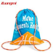 Kuangmi Children Basketball Backpack Adjustable Shoulder Strap Soccer Volleyball Folding Knapsack Kids Ball Storage Bag