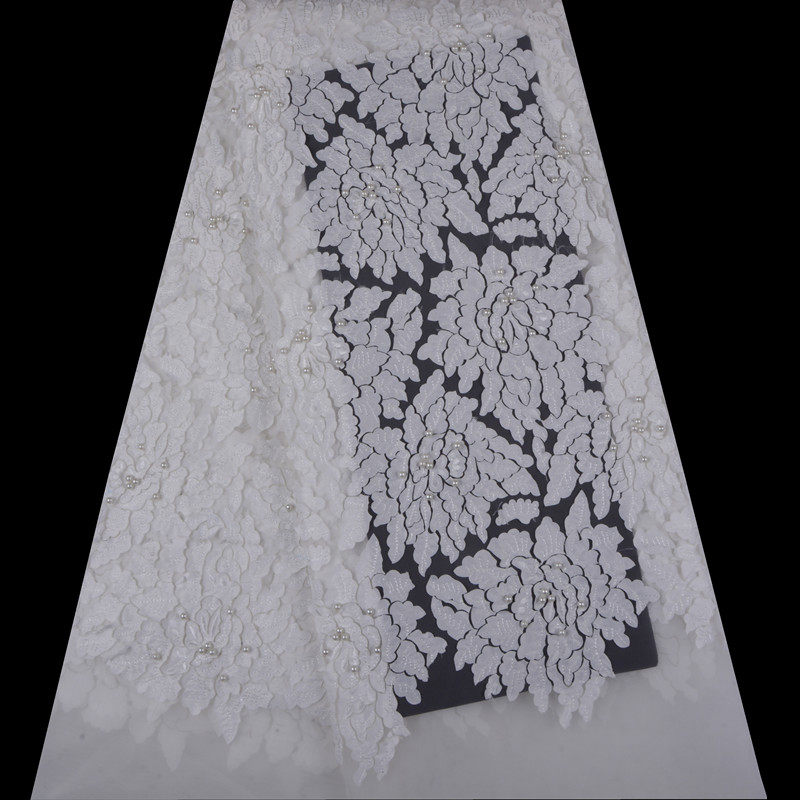 Nigerian Lace Fabrics For Pure White Wedding 2018 African Lace Fabric High Quality 3D Appliqued French