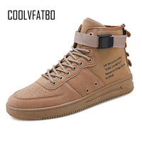 COOLVFATBO Men's Vulcanize Shoes Men Spring Autumn Top Fashion Sneakers Lace up High Style Solid Colors Man Canvas Shoes