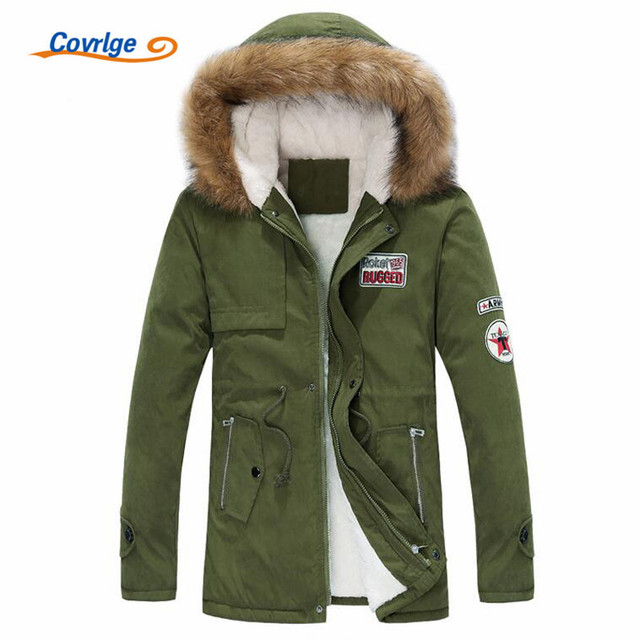 Cheap Covrlge Men Parka Coat 2018 Men's Warm Winter Jacket Men Slim Thicken Fur Hooded  Style Padded Male Hooded Coats S-4XL MWM066