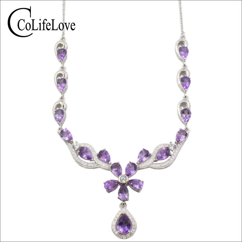 Elegant amethyst necklace for evening party natural amethyst necklace pendant solid 925 silver gemstone wedding necklace
