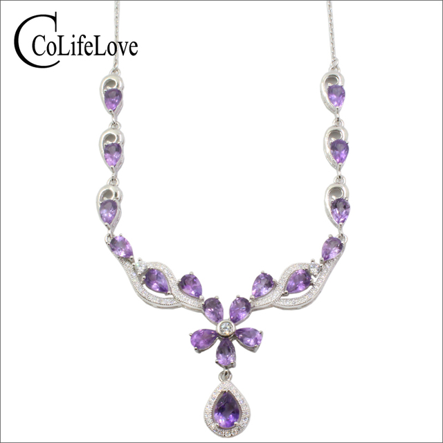 Elegant amethyst necklace for evening party natural amethyst necklace pendant solid 925 silver gemstone wedding necklace pendant