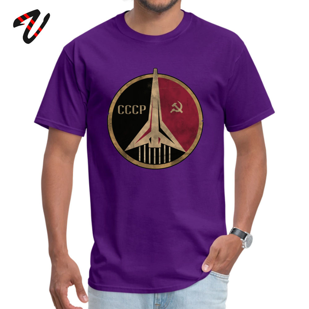 Crazy Short Sleeve Tops & Tees NEW YEAR DAY Round Neck Pure Cotton Men's Tshirts Simple Style Crazy T Shirt Fashionable Soviet Union propaganda poster space 10804 purple