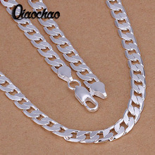 Fashion jewelry 925 sterling silver jewelry 6mm flat side link chains necklaces fashion fine statement 925 silver necklace Men