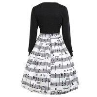 CharMma 2017 New Fashion Music Note Print Autumn Dress Women Casual Long Sleeve A Line Flare