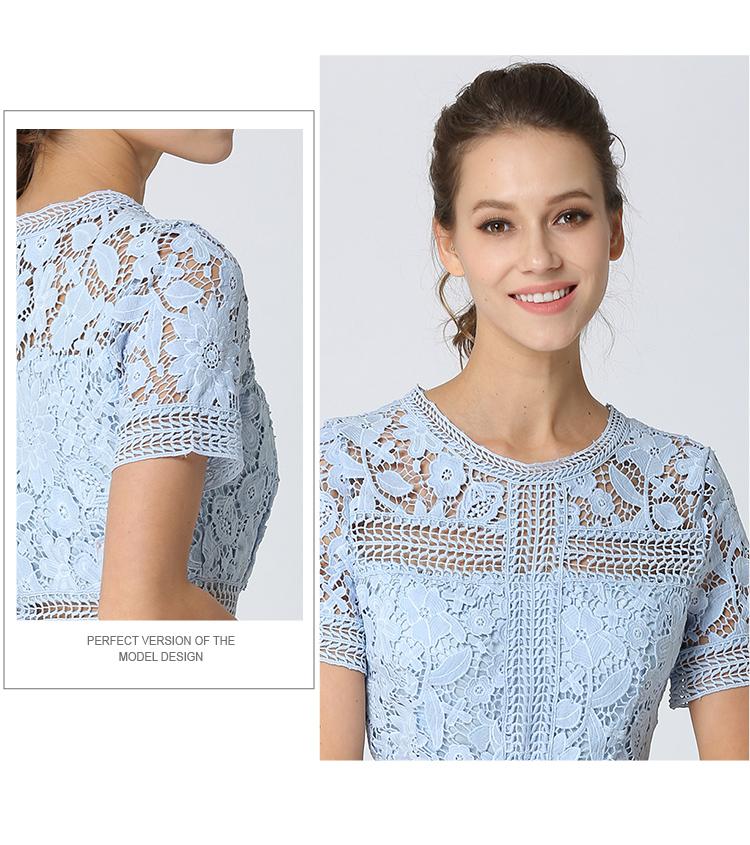 Summer Hollowed Up Blue Lace Dress Dress Women Elegant Midi Party Dress Vestido Mujer Verano 2018 Ladies Dress Robe Femme K6835 3