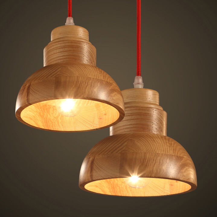 Nordic Vintage Creative Solid Wood Pendant Lamp Restaurant