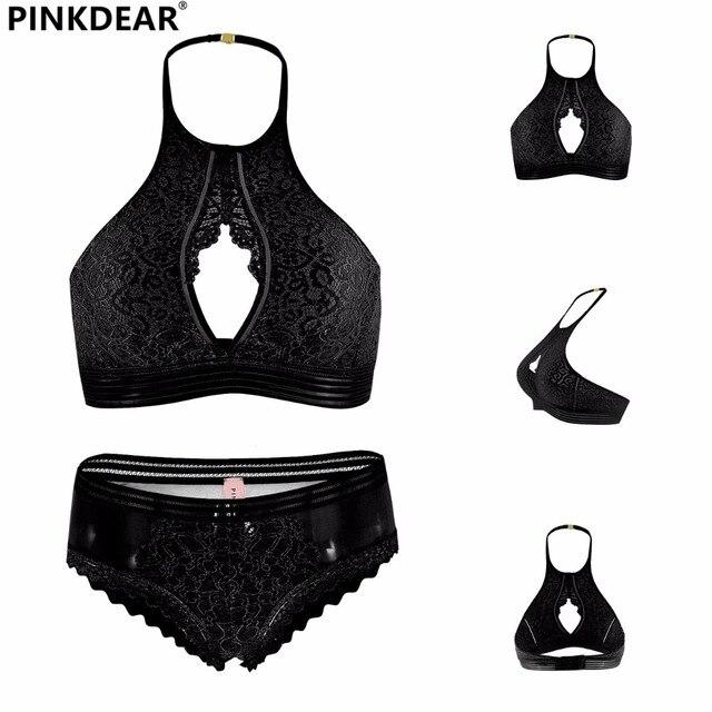 c77a3250ac887 Women Lace Lingerie Wire Free Halter Female Backless Bra Panties Girl  Underwear Set S M L