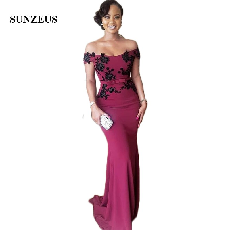 Off the Shoulder Sexy Mother of Bride Dresses Boat Neck Sheath Wedding Party Dress Black Appliques Jersey Formal Dress SMD15