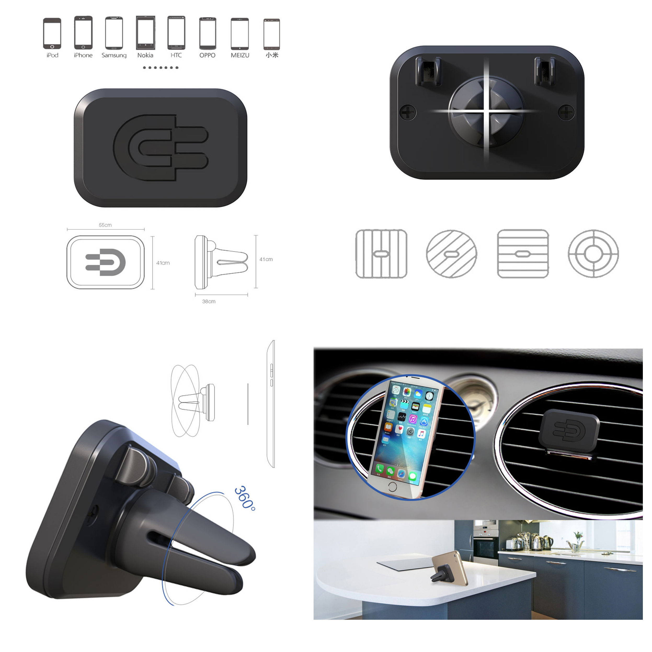 Aliexpress com buy eugizmo car magnetic phone holder with dual usb port charger cigarette lighter magnetic vent mount for universal smartphones from