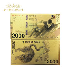 Note Won Fake Money Korea 24k-Gold-Foil-Bank Gifts Olympics Winter The 10pcs/Lot as 2000