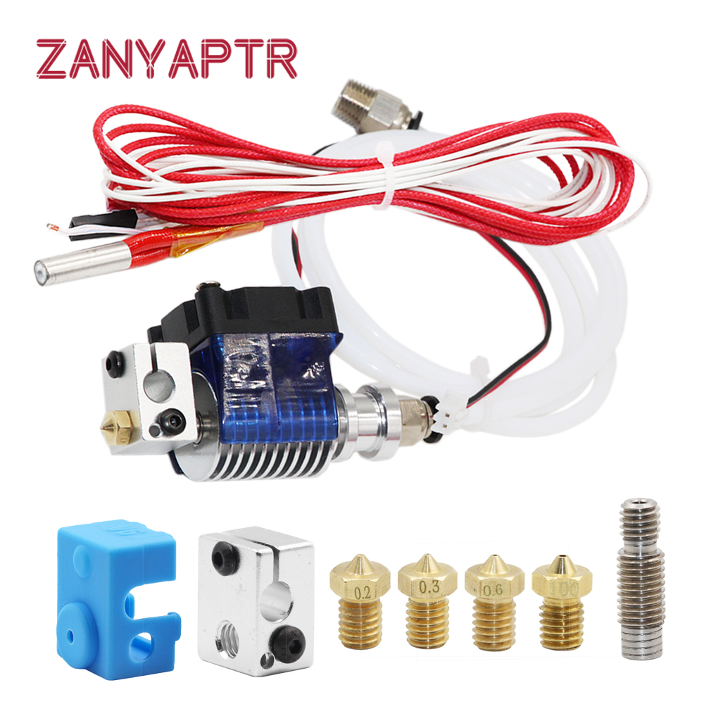 3D Printer J-head Hotend with Single Cooling Fan for 1.75mm/3.0mm 3D v6 bowden Filament Wade Extruder 0.2mm/0.3mm/0.4mm Nozzle tronxy v6 bowden extruder print j head hotend with teflon tube and cooling heat for 3d printer