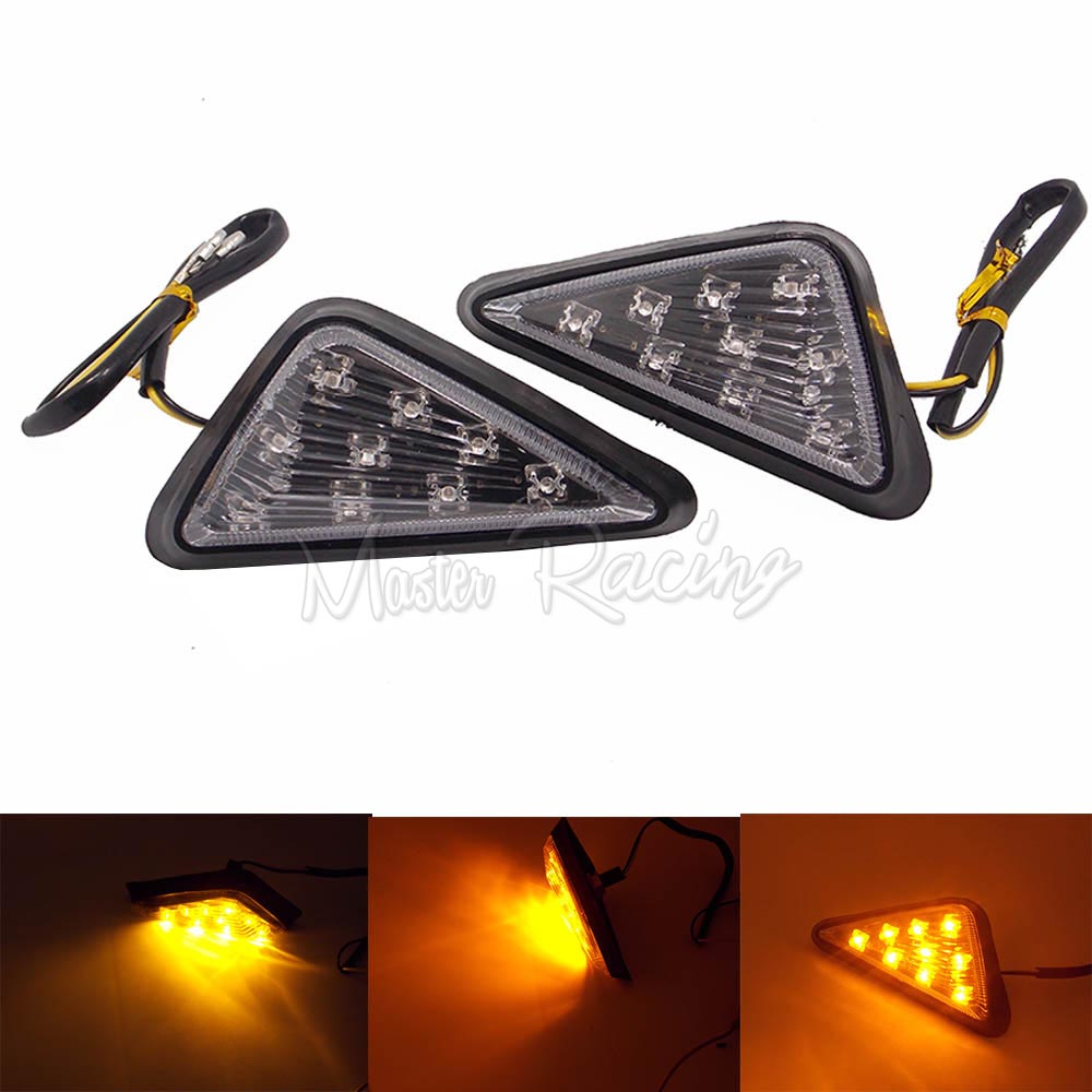 Motorcycle LED Flush Mount Turn Signals Blinker Light Smoke Amber LED Light For Motorbike Kawasaki Honda CBR F4i 600RR 1000 RR
