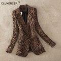 CLUXERCER Бренд Старинные Куртки Женщины Leopard Куртка Slim Fit One Button Офис Пиджак пальто И Пиджаки Плюс Размер