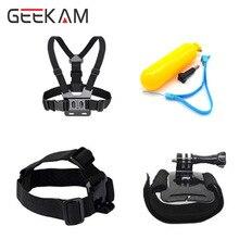 GEEKAM Go Accessories Set Chest Belt Head Wrist Mount Strap Floaty Bobber For HD Hero 4 3 3+ 2 Sj4000 pro Black Edition