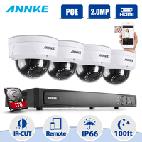 ANNKE NVR комплект 4 Камера s 1080 P 8CH 2.0MP H.264 + NVR PoE IP сети WDR видеонаблюдения Камера системы 1080 P наблюдения комплект 1 ТБ HDD