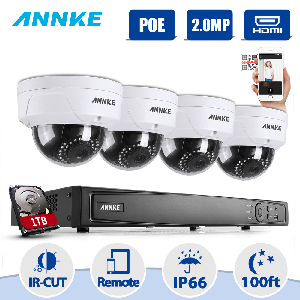 ANNKE NVR Kit 4 Cameras 1080P 8CH 2.0MP H.264+ NVR PoE IP Network WDR CCTV Security Camera System 1080P Surveillance Kit 1TB HDD annke nvr kit 4 cameras 1080p 4ch wireless wifi nvr ip network cctv security camera system surveillance kit ip66 indoor outdoor