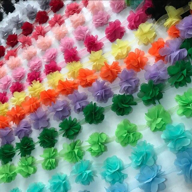 2 yard = 24 pz fiori 3D Chiffon Cluster Fiori Abito di Pizzo Tessuto Della Decor