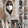 Daisy & Na Warm Winter Faux Animal Fur Hat Fluffy Dint Hood Scarf Shawl Glove Plush Cap 013