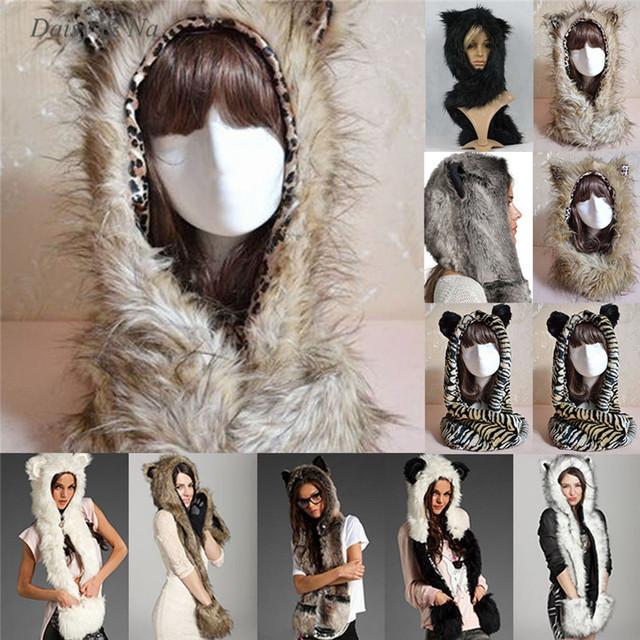 Margarida e Na força de inverno quente Faux chapéu de pele Animal macio capa xale luvas de pelúcia 013
