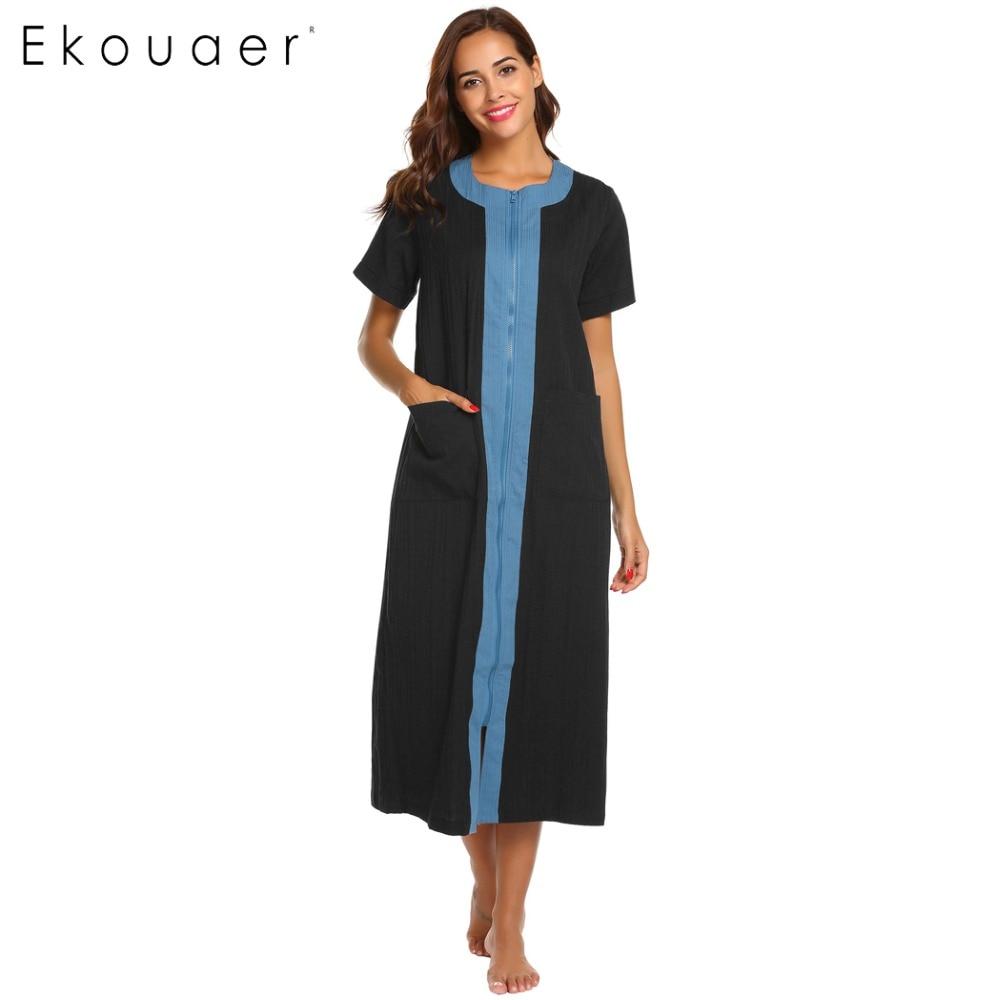 Ekouaer Long Nightgown Loungewear Warm Housecoat Oversize Nightdress with Pocket for Women