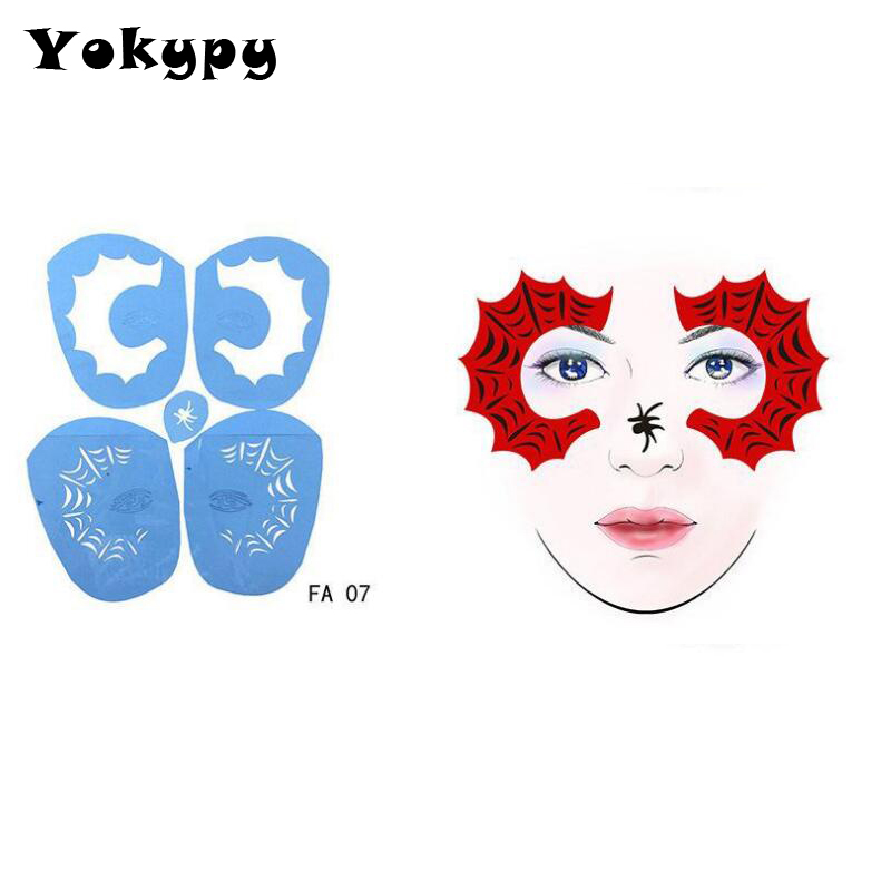 Us 23 52 Off1pc Soft Face Paint Stencil Reusable Template Tattoo Painting Drawing Mold Makeup Tool Diy Design For Halloween Christmas Party In