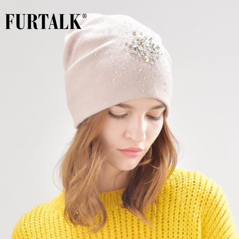 FURTALK warm cashmere wool winter hat for women double lining women knit   beanie   rabbit fur hats for girls B013