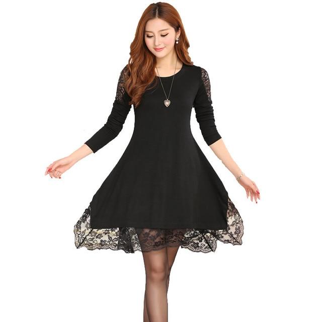 1dd5cf9e1 Más tamaño suelta de manga larga encaje embarazada maternidad vestidos  embarazo otoño ropa coreana ropa para