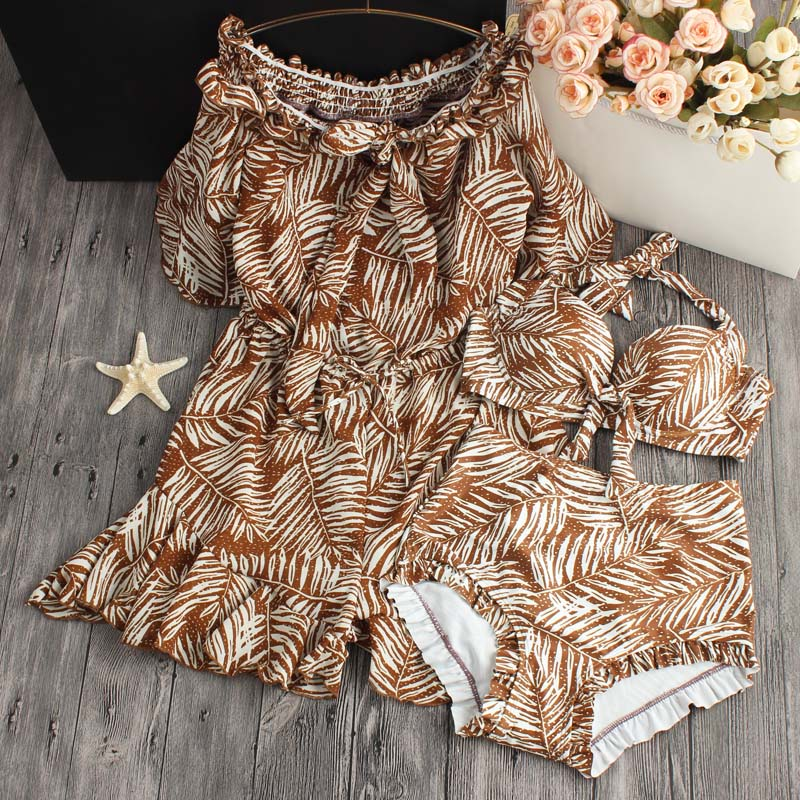 2018 New Sale Small Fragrant Snow Spinning Skirt Blouse Chest Cover Belly Thin Waist Gather Three Piece Swimsuit Female Bikinis anlala 2016 new swimsuit female siamese boxer skirt plus fertilizer xl cover the belly was thin steel prop gather small chest