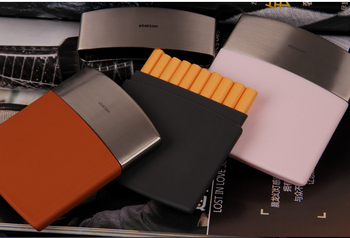 New 1pcs Stelton men's business cigarette case Black stainless steel thin cigarette box holder 10 cigarettes wholesale