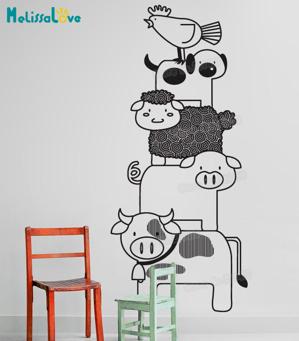Kids Room Wall Decals Farm Wall Decals Farm Animal Decals: New Design Baby Wall Sticker Stacked Farm Animals Decals